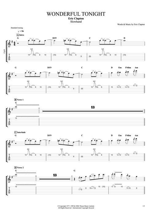Guitar tabs wonderful tonight