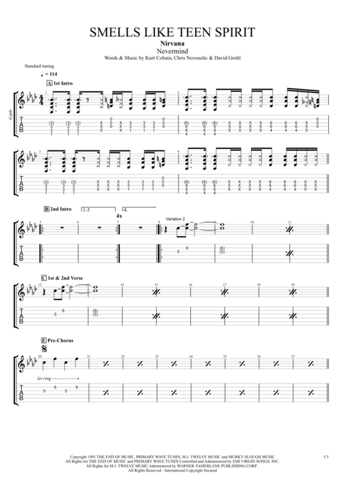 Guitar tabs nirvana